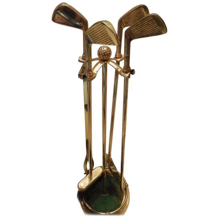 Set of Artisan Golf Club Themed Brass Fireplace Tools 1