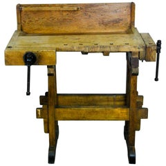 1920 Small Wooden Carpenters Workbench