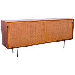 Florence Knoll Walnut and Woven Cane Credenza