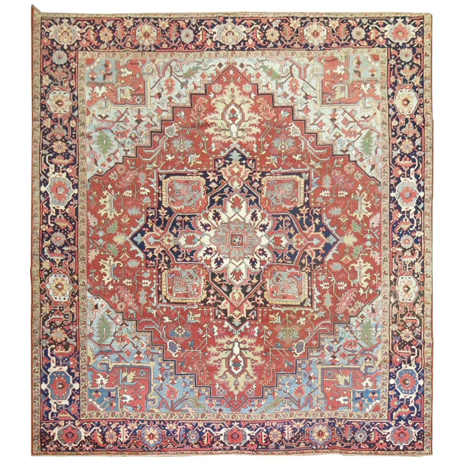 Square Antique Persian Heriz Serapi Rug, Northwest Persia