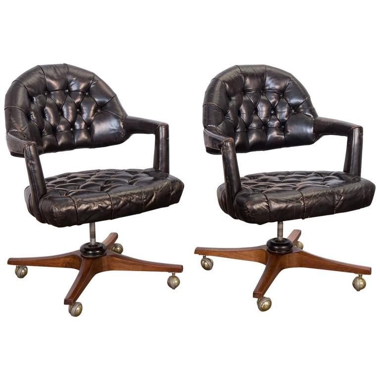 Pair of Edward Wormley Dunbar Tufted Swivel Chairs For Sale