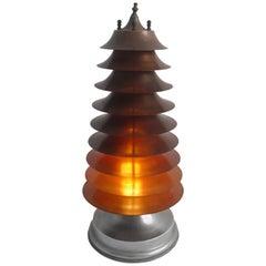 Rare Art-Deco Machine Age Nine-Tier Copper Pagoda Table Lamp