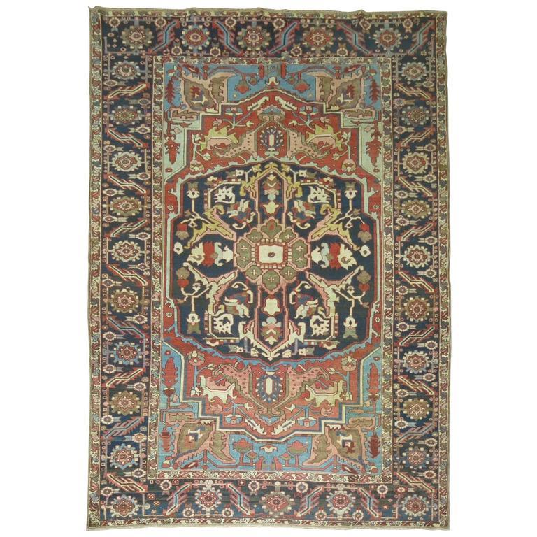 Antique Persian Heriz Oriental Rug For Sale