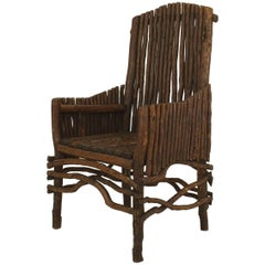 American Rustic Adirondack Slat Twig Design Armchair