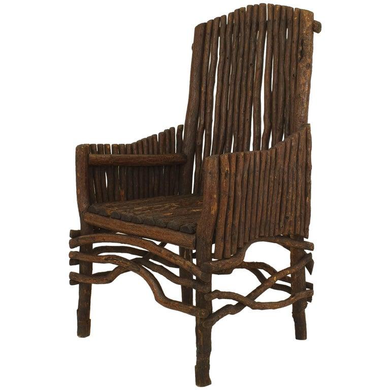 American Rustic Adirondack Slat Twig Design Armchair For Sale