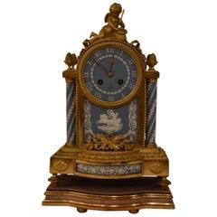 Rare 3 Color Antique Wedgwood Clock with Ormolu Mount