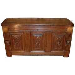 "French 17th Century Oak Coffer Dated ""1614"""