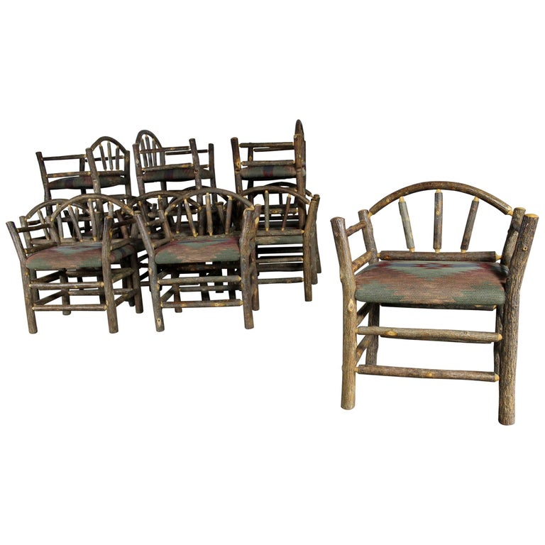 Old Hickory Style Rustic Hickory Dining Chairs with Arms Set of Twelve