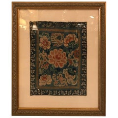 Antique Chinese Framed Silk Embroidered Panel
