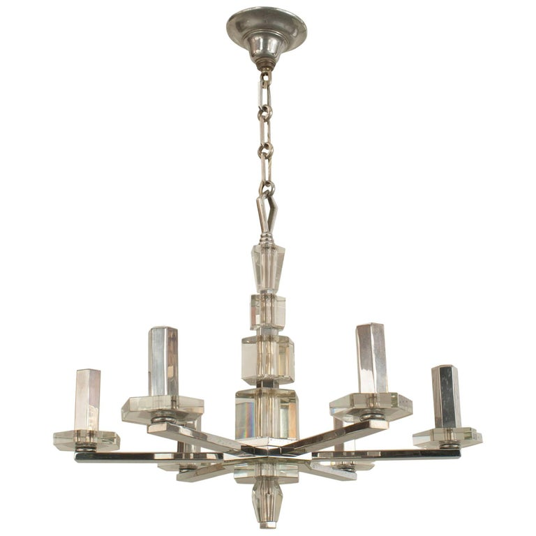 French 1940s Chandelier with Six Chrome Arms
