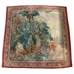 """Aubusson Style Tapestry """"Adam, Eve, Cain & Abel Outside the Garden of Eden"""""""