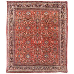 Square Sized Antique Persian Mahal-Sultanabad Rug with Large Flowers, 1920