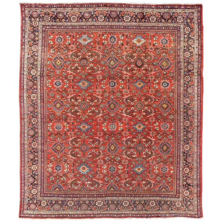Square Sized Antique Persian Mahal Sultanabad Rug With Large Flowers 1920 For