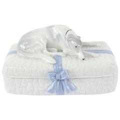 Art Deco Porcelain Greyhound Dog Jewelry Trinket Box