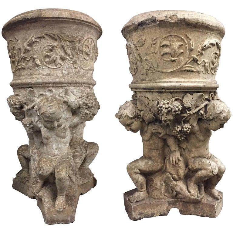 Pair of Italian Neoclassical Style Cast Stone Jardinieres, 19th Century