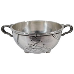 Whiting Japonesque Sterling Silver Sugar Bowl with Geisha and Bamboo