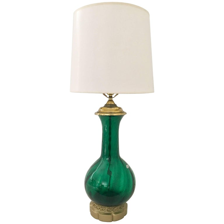 Blenko Glass Optic Emerald Green Lamp 1