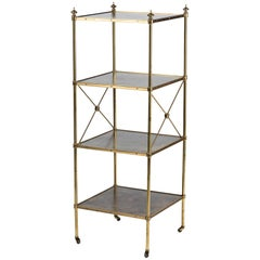 Empire Style Brass and Leather Etagere by Baker