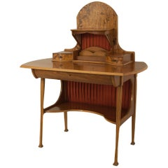 French Art Nouveau Writing Desk with a Floral Inlay