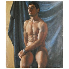 """""""Male Nude with Tank Watch,"""" Striking Art Deco Oil Painting, 1930s"""