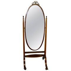 "Antique English ""Adam"" Style Inlaid Mahogany Adjustable Cheval Mirror"