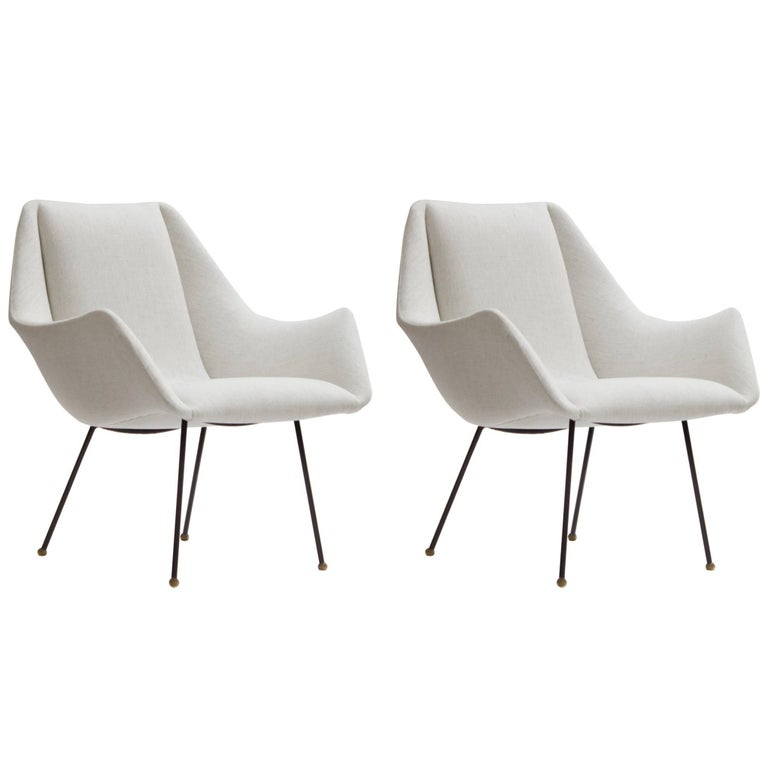 Mid-Century Ivory Lounge Chairs by Carlo Hauner for Forma, Brazil, circa 1960