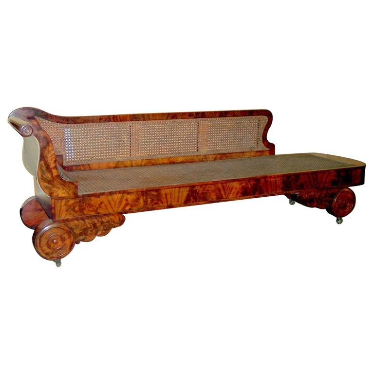 Antique american flame mahogany and cane empire period for Antique chaise longue for sale