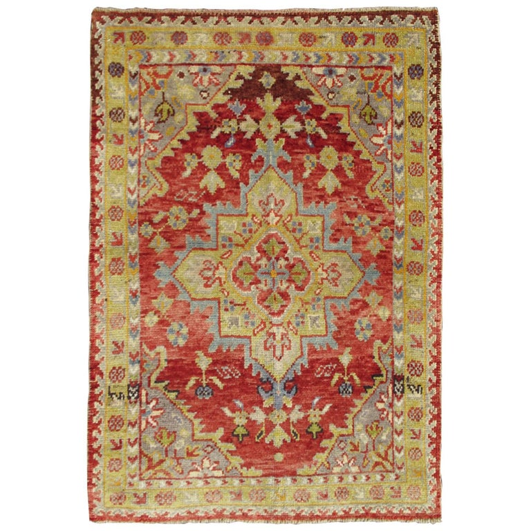 Lime Green Grey Area Rug: Center Medallion Antique Turkish Oushak Rug In Red, Lime