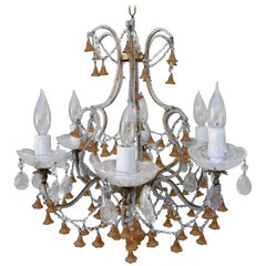 Six-Light Italian Beaded Murano Crystal Chandelier with Glass Bells