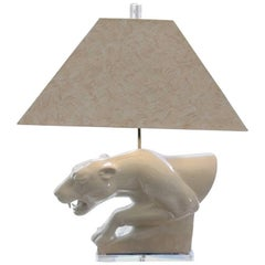 Hollywood Regency Blanc de Chine Panther-Form Table Lamp