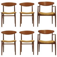 Set of Six Danish Modern Teak Dining Chairs by Ejner Larsen and Aksel Madsen