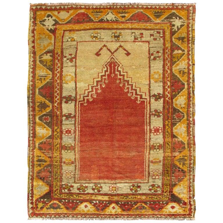 Antique Turkish Oushak Prayer Rug in Red, Ivory, Brown, Orange and Yellow, 1910