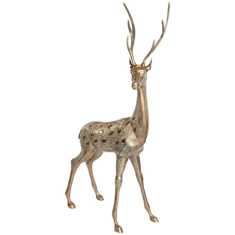 Life-Size Brass Deer Sculpture For Sale