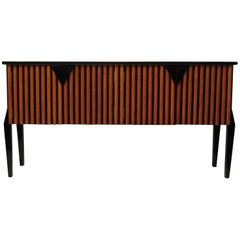 1940 Cherry and Black Lacquered Italian Art Deco Sideboards