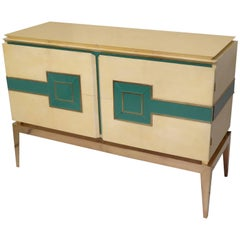 1950 Vitrified Parchment and Brass Legs Italian Mid-Century Sideboards
