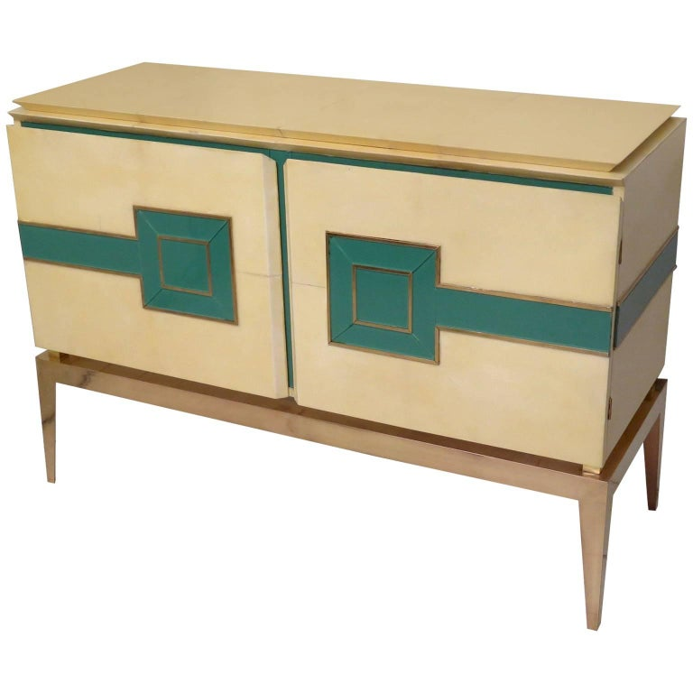 Sideboard Vitrified Parchment, Brass Legs, Italy, 1950s