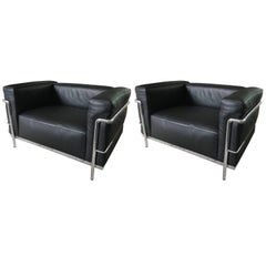 Pair of Cassina LC3 Corbusier Armchairs