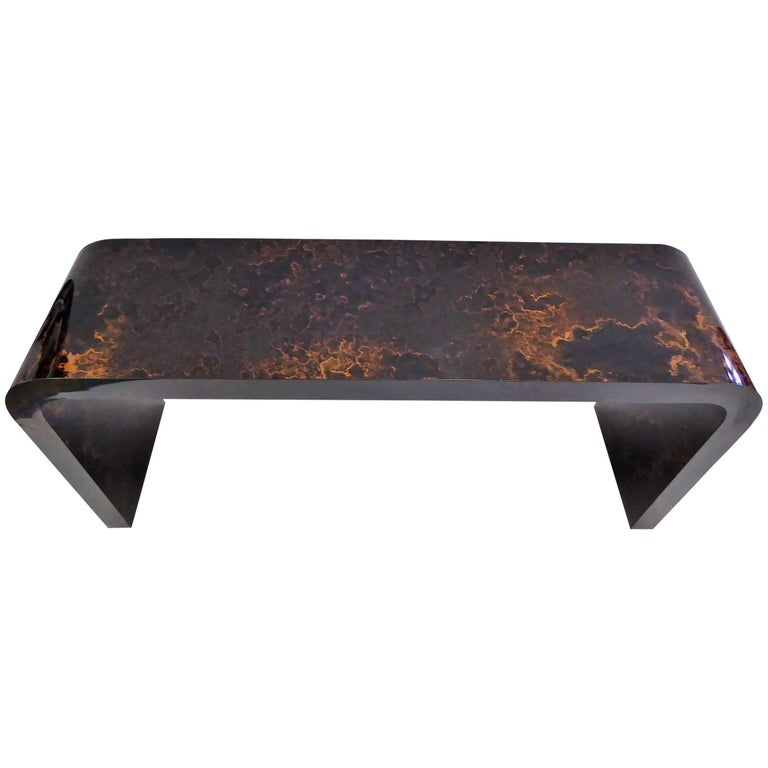 Karl Springer Inspired Faux Tortoise Waterfall Console Table 1