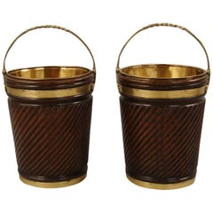 Pair of English Georgian Style Mahogany Peat Buckets with Liners