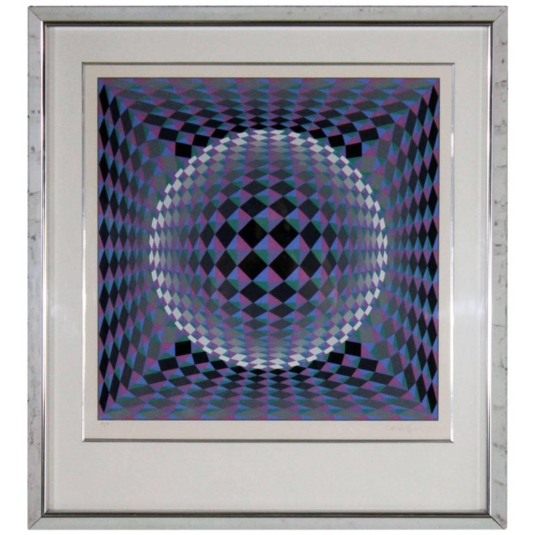 Athmos by Victor Vasarely Serigraph in Color Pencil Signed Numbered
