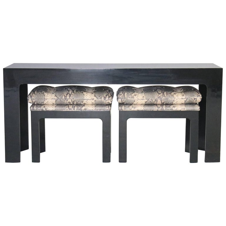 Parson Style Black Lacquered Console Table and Benches For Sale