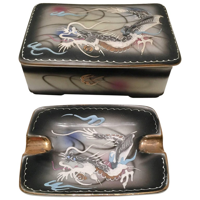 Midcentury Porcelain Hand-Painted Dragonware Smoking S/3 For Sale