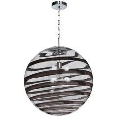 Murano Glass Globe Pendants with Black Swirl accent