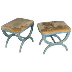 Pair of French Early 20th Century Benches in Blue Painted Frames