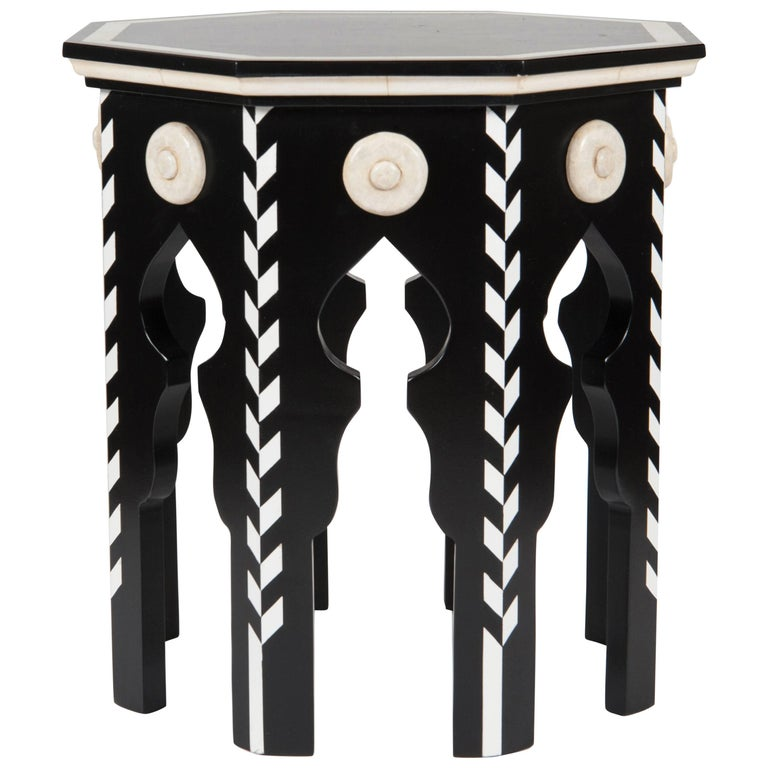 Pasha Side Table with Faux Ivory For Sale