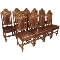 Set of nine Antique Walnut and Leather Dining Chairs from France, circa 1880
