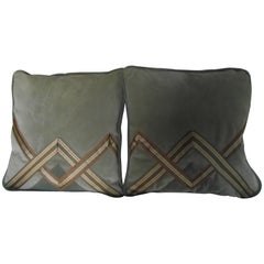 Art Deco Style Pillows, Pale Green, Siena and Gold Original Deco Designed Pillow