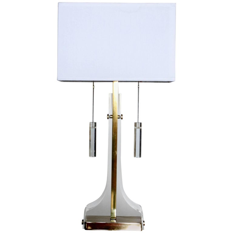 Laurel Lucite and Brass Table Lamp