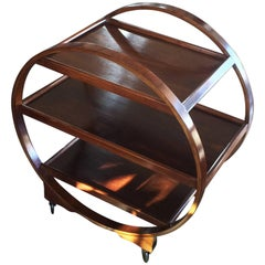 Art Deco Bentwood Circular Trolley Bar Cart