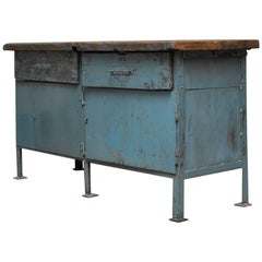 Vintage Industrial Iron Workbench, 1950s